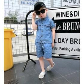 子供服◇春夏着 男の子 2点セット ジーンズ おしゃれな セットアップ 半袖シャツ 上下 ハーフパンツ デニム