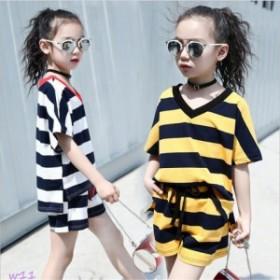 子供服 セットアップ ボーダー柄 半袖 ベビー 子供 女の子 トップス 2点セット ショートパンツ