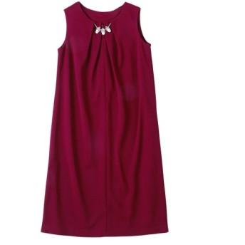 「入園。入学。卒園。卒業」のびる前ファスナー開きサックワンピース(アクセサリー付) (大きいサイズレディース)ワンピース, plus size dress, 衣裙, 連衣裙