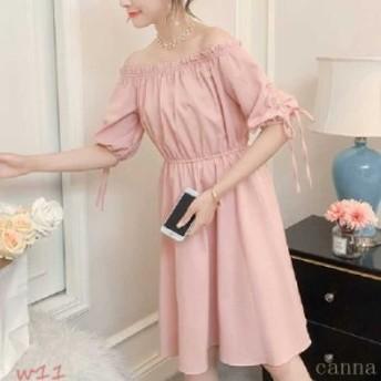 Tシャツワンピ Tシャツ ワンピース ミディアム レディ リボン ドレス 夏 かわいい おしゃれ aライン 半袖 大人 大きいサイズ オフショル