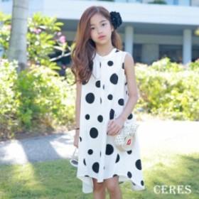 子供服 ワンピース 夏 親子ペア ゆったり 水玉 可愛い 韓国子供服 キッズ ノースリーブワンピース 女の子