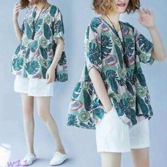 ロンt レディース 半袖 ロングtシャツ 大きめ tシャツ トップス リゾート 緑 長め カットソー ロンティー チュニック ゆったり 花柄 フリ