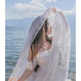 ロングワンピース レース オフショルダー お嬢様風 レディース 森ガール 海ビーチ 透かし彫り 旅行 写真撮影