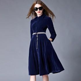 韓国ワンピース ドレス ベロア きれいめ 秋 冬 無地 ミモレ丈 40代 20代 50代 30代 デート ショッピング お呼ばれ