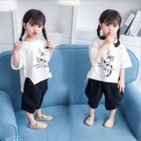 子供服 2018 夏着 2点セット Tシャツ 着心地良い パンツ 女の子 半袖 ファッション感 セットアップ
