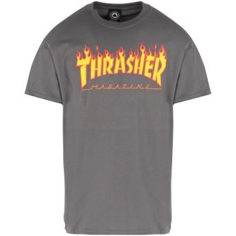 《期間限定セール開催中!》THRASHER メンズ T シャツ グレー S コットン 100% FLAME T-SHIRT