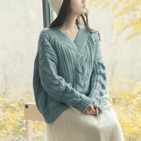ケーブルニット トップス セーター 冬 かわいい 冬服 可愛い 長袖 ニット おしゃれ レディース カジュアル ファッション コーデ ざっくり