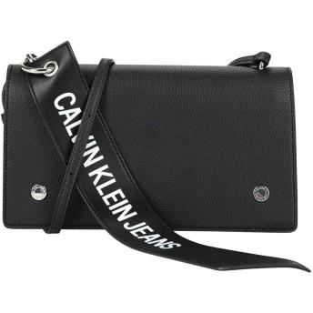 《期間限定セール開催中!》CALVIN KLEIN JEANS レディース メッセンジャーバッグ ブラック ポリウレタン 100% LOGO BANNER SHOULDER