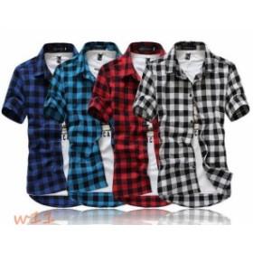 メンズ半袖ワイシャツ カジュアルシャツ ビジネスオフィス 通学 細身ブラウス 紳士チェック柄シャツ お兄系 4色 通勤トップス ポロシャツ