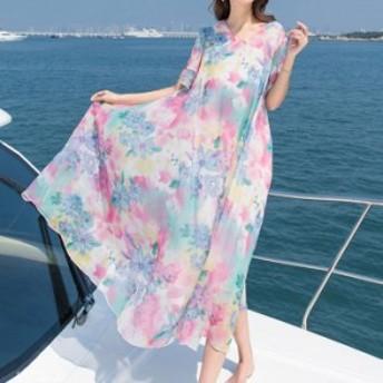 リゾートワンピース 花柄 グラデーション 可愛い ファッション 海 フリル トップス コーデ 半袖 海外 おしゃれ 夏 ビー ロング丈 フレア