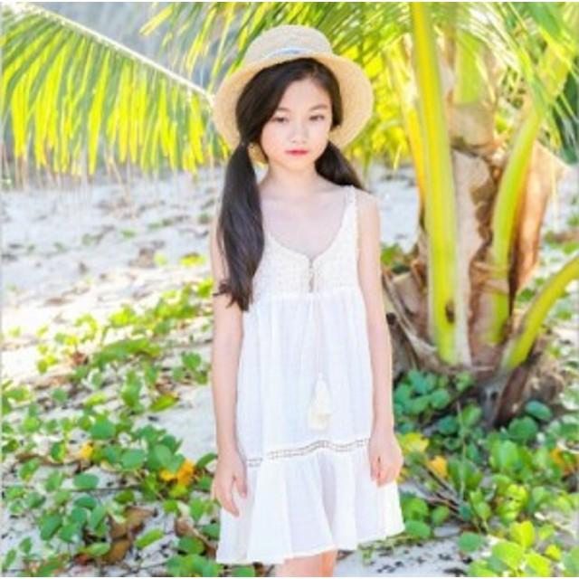 bd2ab574785dc 子供服春夏着 女の子おしゃれ上品ワンピース 袖なし キッズ 可愛いベルトドレス ファッション
