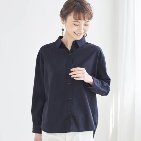 シャツ ブラウス レディース  着心地やわらかで女性らしい綿100%梨地シャツ ネイビー