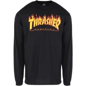 《セール開催中》THRASHER メンズ T シャツ ブラック M コットン 100% FLAME LONG SLEEVE