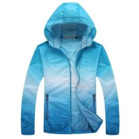 全6サイズ4色 ユニセックス 超軽量 日焼け止め 薄手  スポーツ 速乾 アウトドア 登山 釣り ジャケット シャツ - 青, L