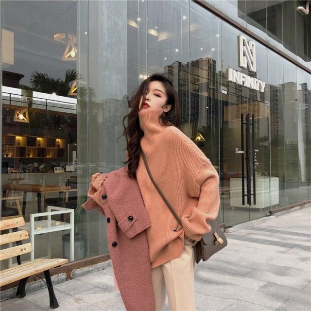 2018大人気新作 韓国ファッション CHIC気質 レトロ タートルネック ホーンスリーブ セーター