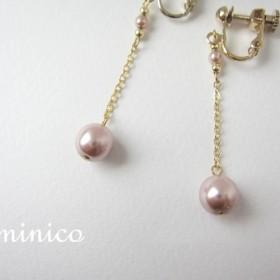 【再販10】ゆれる上品イヤリング/ピアス可★桜ピンク☆