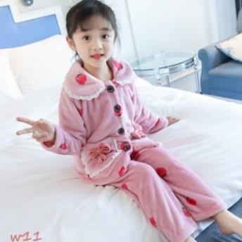 子供服 女の子 パジャマ 寝巻き 前開き かわいい ふわふわ 冬 長袖 フランネル シャツ ポリエステル 部屋着 110- ルームウェア
