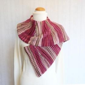 秋冬段染め毛糸のマフラー