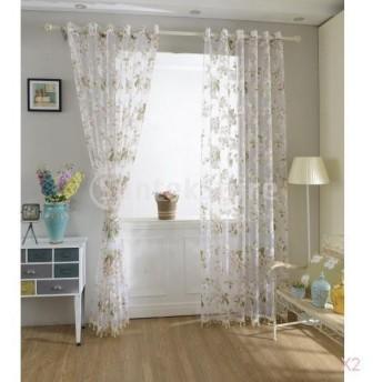 花柄のチュール薄手のカーテン窓のブラインドパネルビーズはピンク100x200cmをトリミング