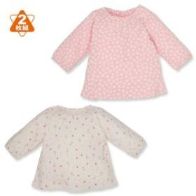 2枚組長袖スモックTシャツ(花総柄)【新生児50-70cm】[西松屋]