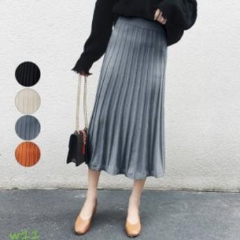 スカート ひざ丈 膝丈 プリーツスカート シンプルデザイン レディース ミモレ丈
