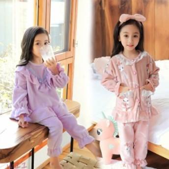子供 モコモコ パジャマ 部屋着 ルームウェア 女の子 上下セット キッズパジャマ ワンピース 冬用 ガウン 可愛い ネグリジェ 14色選択 親