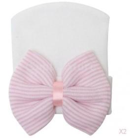 ノーブランド品 新生児 女の子 帽子 ストライプ ビーニー ハット ターバン 蝶結び 2色選べる - ピンク&白