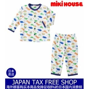 ミキハウス正規販売店/ミキハウス mikihouse 動物いっぱい☆前開き長袖パジャマ(80cm-140cm)