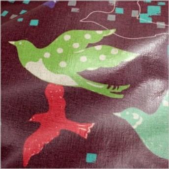 Half linen echino-ラミネート版 Flying birds生地 布 撥水 テーブルクロス