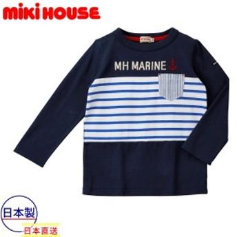 ミキハウス正規販売店/ミキハウス mikihouse イカリマーク☆MH MARINE長袖Tシャツ(90cm)