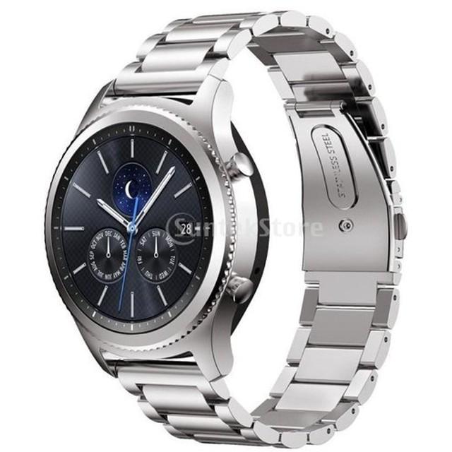 汎用 耐久性 22mm幅 ストラップ スマートウォッチ 腕時計 ステンレススティール製  リストバンド  全4色  - シルバー