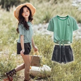 子供服 2点セット ストライプ 半ズボン デニム 夏 ファッション感 Tシャツ半袖T 2018夏新作 ジュニア キッズ ショートパンツ 女の子 女の