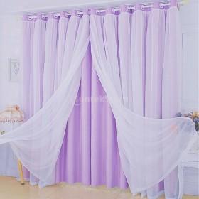 Lovoski レースカーテン グロメット窓カーテン 遮光窓カーテン ブラインド 全5色2サイズ - パープル, 150x250cm
