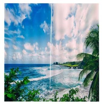 Perfeclan 3D 海の景色 窓カーテン 遮光 ウィンドウカーテン リビングルーム 装飾 新築祝い 全15パターン - 空と海, 166x150cm