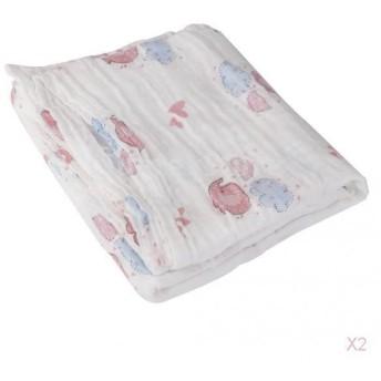ノーブランド品 2PCS モスリン 綿 ベビー 新生児 ブランケット バスタオル 敷物 毛布 おくるみ ふかふか 4パタン選べる - 象柄