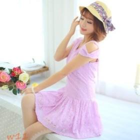 レディース かわいい ワンピース 花柄 レース フレア 楽チン 編み上げ シルエット ふんわり 着心地