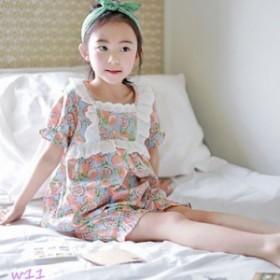 子どもパジャマ 女の子 子供パジャマ 上下セット 部屋着 レース 可愛い キルト ハーフパンツ 寝間着 半袖 ナイトウェア ルームウェア 夏