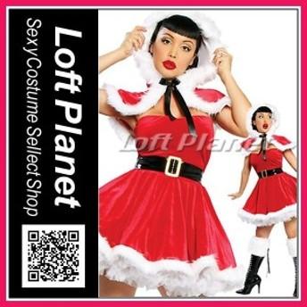 【在庫限り】サンタ衣装 可愛い頭巾のドレス クリスマスのコスチューム3点セット M1-XT2052