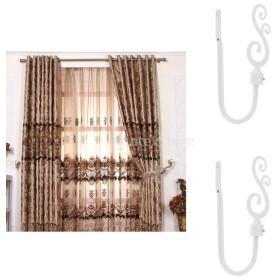2個 U字型 金属製 ブドウ カーテンフック 窓ドレープ タイバック ハンガー ホーム 飾り 全3色 - 白