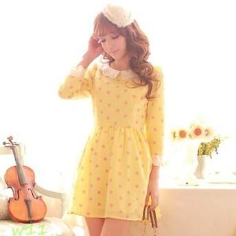スカート ワンピース 甘かわいい シルエット リボン Sサイズ 春物 姫系 ボディライン ハイウエスト イエロー パール 姫モード Mサイズ 九