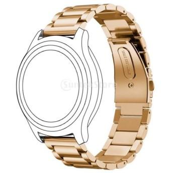 汎用 耐久性 22mm幅 ストラップ スマートウォッチ 腕時計 ステンレススティール製 リストバンド 全4色 - ローズゴールド