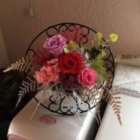 プリザーブドフラワーの壁掛け&スタンド飾りリース飾りクリスマス造花 インテリア