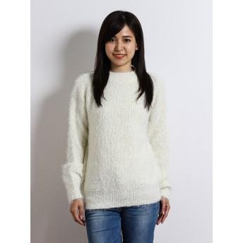 ニット・セーター - TAKA-Q シャギー片畦ハイネック長袖プルオーバーニット