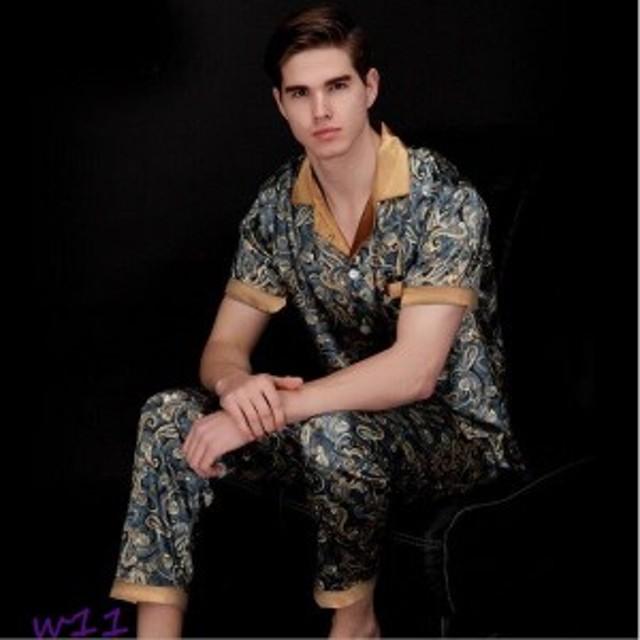 a309c1e711f560 メンズ サテン パジャマ プリント 半袖 シルクタッチ 竜柄 ルームウェア 上下セット 部屋着 紳士