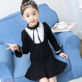 ニューモダンスタイルワンピース フォーマル 女の子 ピアノ喪服 スーツ 結婚式 ドレス ジュニア 卒業式 dress ブラック 発表会