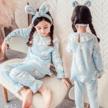 子供 女の子 モコモコ 暖かい ルームウェア パジャマ 可愛い サンゴ絨 パジャマ 冬用 部屋着 キッズ 子ども服 厚手 ライトブルー 上下セ