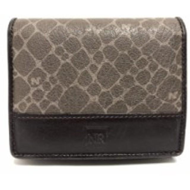 a110028f774f ニナリッチ NINARICCI 2つ折り財布 レディース ベージュ×ダークブラウン PVC(塩化ビニール)×