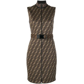 Fendi ベルテッド ドレス - ブラウン