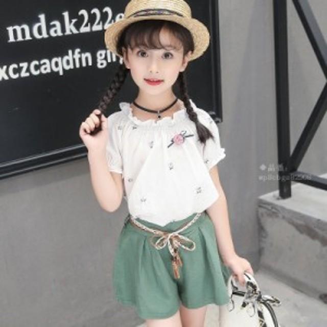 e4ce8404a4e5a セットアップ 上下セット 女の子 ショットパンツ 韓国子供服 ハーフパンツ 半袖 カットソー tシャツ 子供