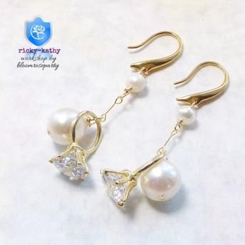 リズミカルに. 愛らしいczリングと本真珠